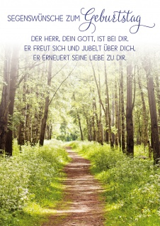 Postkarte Geburtstag Waldweg 10 St Adressfeld Bibelwort Bäume Sonne Segen Gott