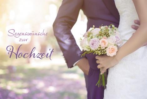Glückwunschkarte Segenswünsche zur Hochzeit (6 St) Brautpaar mit Blumenstrauß