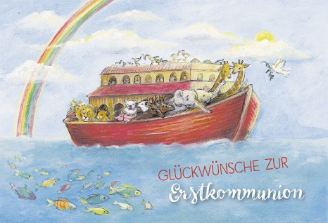 Glückwunschkarte Erstkommunion Arche Noah Regenbogen Kuvert Grußkarte