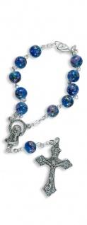 Zehner-Rosenkranz blau bunt marmoriert 17, 5 cm Auto-Rosenkranz Rückspiegel