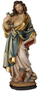 Heiliger Lukas Holzfigur geschnitzt Südtirol Schutzpatron Apostel Evangelist