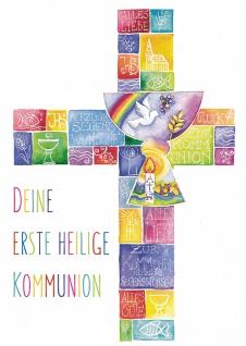 Postkarte Deine erste heilige Kommunion (10 St) Kelch und Kreuz Grußkarte