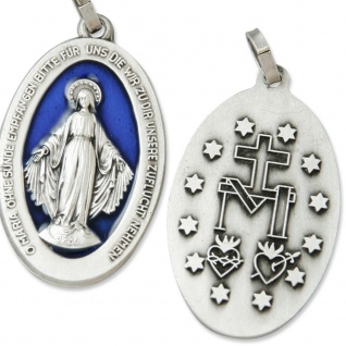 Wunderbare Wundertätige Medaille silber / blau 3 cm zur Verehrung der Mutter Gottes