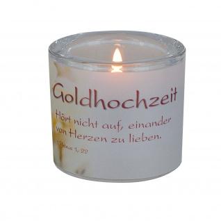 Glaswindlicht Goldhochzeit Teelicht Kerzenhalter Geschenkbox Glas für Windlicht
