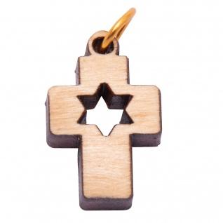 Schmuck Kreuz Anhänger STERN 2 cm Kruzifix Olivenholz Bethlehem Holzkreuz