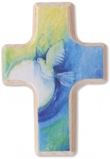Handschmeichlerkreuz Segens Taube Buchenholz farbig 6 cm Sorgen Stein
