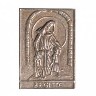 Namenstag Brigitte 8 x 6 cm Bronzeplakette Bronzerelief Wandbild Schutzpatron