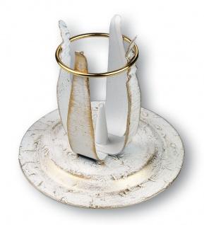 Kerzenständer Schmiedeeisen weiß-gold lackiert 10 cm Kerzenhalter Kommunion
