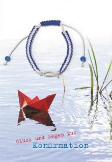 Konfirmation Grußkarte Fisch-Armband Glück und Segen (5 Stck) Bibel Psalm Kuvert