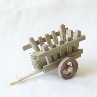 Karren mit Stroh handgefertigt Holz 14 cm Zubehör für Weihnachtskrippe