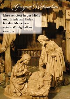 Postkarte Gesegnete Weihnachten Bibelwort Lukas Krippe Grußkarte (10 Stück)
