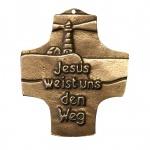 Wandkreuz Bronze Text Jesus weist uns den Weg 8 cm Kommunion Peters
