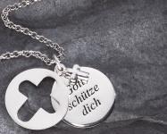Anhänger Gott schütze Dich Kreuz Kette 925 Silber 3-tlg. Anhänger Gravurfähig