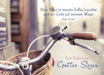 Postkarte Zum Geburtstag Gottes Segen (10 St) Fahrrad Psalm Lutherbibel