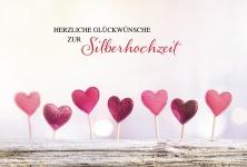 Glückwunschkarte Herzliche Glückwünsche zur Silberhochzeit (6 St) Herzen Herder
