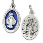 Wunderbare Wundertätige Medaille silber / blau 1, 9 cm Religiöser Schmuck