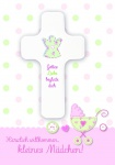 Geburtskarte mit Holzkreuz, Herzlich willkommen (1 Stck) Glückwunschkarte Geburt