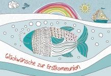 Glückwunschkarte Glückwünsche zur Erstkommunion (6 St) Fisch Boot Reinhard Abeln