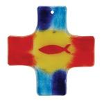 Glaskreuz bunt Ichthys rot Fusing Glas Kreuz Handarbeit 15 cm Wandkreuz Unikat