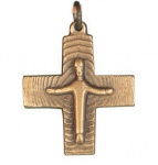 Kreuz Anhänger mit Jesu Corpus 3 x 3 cm Bronze Schmuckkreuz