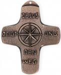 Kommunionkreuz Jesus zeigt uns den Weg 10, 5 cm Bronze
