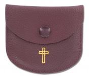 Rosenkranz Etui Kreuz Leder dunkelrot Gold Kommunion Tasche Erstkommunion