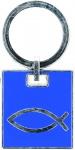 Schlüsselanhänger Fisch blau Metall 6, 5 x 3, 3 cm