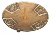 Kerzenleuchter 4 christliche Symbole Ø 10 cm Bronze Kerzenhalter