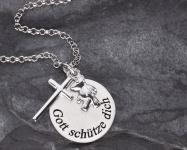 Anhänger Gott schütze Dich 3-tlg. Anhänger Platte Kreuz Bär Silberkette, Gravur