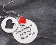 Herz-Anhänger Taufe Geschenk 3 teilig 925 Silber rotes Herz, Kette