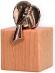 Schutzengel Engel der Gelassenheit Würfel aus Buchenholz Engelfigur Bronze