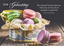 Postkarte Zum Geburtstag (10 St) Bunte Makronen Antoine de Saint-Exupéry