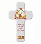 Kinderkreuz Buchenholz weiß bedruckt Jeder Tag ist von Gott 18 cm Wandkreuz Holz