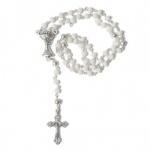 Rosenkranz weiße Glasperle 27 cm gekettelt Metallkreuz