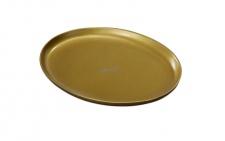 Kerzenteller Aluminium goldfarben oval 9 x 12 cm für Tischkerzen Altarkerzen