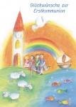 Kommunionkarte Kirche Glückwünsche zur Erstkommunion (6 St) Grußkarte Kommunion