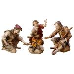 Ulrich Krippe Hirtengruppe Feuerstelle Holz Weihnachtskrippe Südtirol