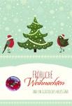 Weihnachtskarte Glasmagnet Fröhliche Weihnachten Neues Jahr (5 Stck) Kuvert