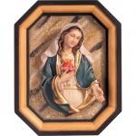 Herz Maria Brustbild und Rahmen Holzfigur geschnitzt Südtirol Mutter Gottes Figur