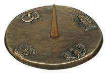 Kerzenleuchter mit 4 Symbolen Ø 12 cm Bronze Kerzenhalter