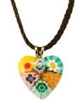 Herz Anhänger Murano Glas mit schwarzer Kordel Ø 2 cm Schmuckanhänger