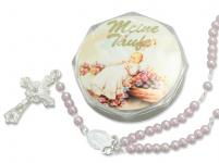 Tauf-Rosenkranz 15 cm, rosa Perlen Taufschmuck Mädchen mit Rosenkranz-Etui