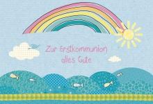 Glückwunschkarte Zur Erstkommunion alles Gute (6 St) Regenbogen Kuvert