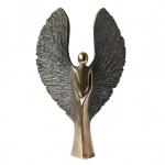 Engelskulptur Engel 17 cm Bronze patinierte Flügel Bronzeskulptur