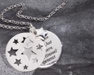 Taufe Stern-Anhänger Als du geboren 925 Silber, Kette 3-tlg mit Kette