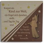 Holztafel Schutzengel Buchenholz 14 x 14 x 1 cm