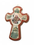 Wandkreuz Holzkreuz Kreuz Papst Benedikt XVI. farbig bemalt 14 x 10 cm Naturholz