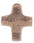 Wandkreuz Ich bin der Weg Bronze Erstkommunion Kreuz 8, 5 x 10, 5 cm Jürgen Peters