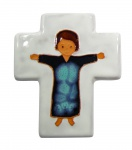 Kinderkreuz Keramik, weiß mit Kind 12 x 10 cm Wandkreuz
