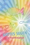 Konfirmationskarte Holz Fisch Handschmeichler Gottes Segen (3 St) Kuvert